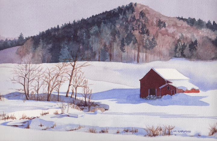 Winter Landscape, New England barn in the snow by Lori Rapuano