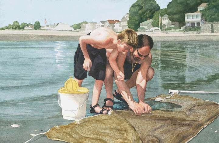 Seining for Bait, father and son portrait, Milford, CT by Lori Rapuano