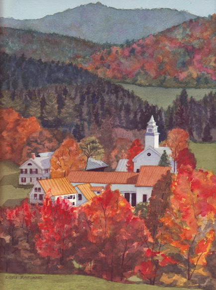 Autumn Landscape, New England church and fall trees, by Lori Rapuano