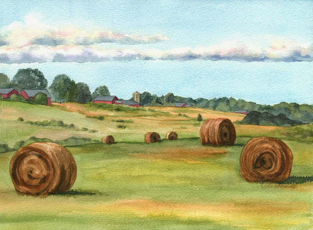 East Granby Farms Fields, East Granby, CT with haybales by Lori Rapuano