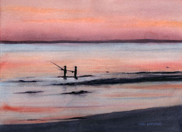 Fishing the Sandbars, Milford, CT by Lori Rapuano