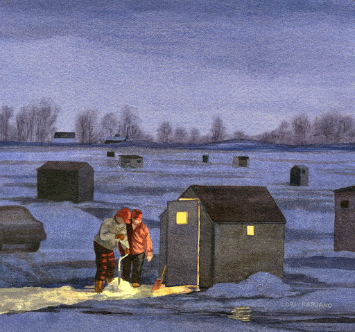 Ice Fishing in Brattleboro, VT by Lori Rapuano