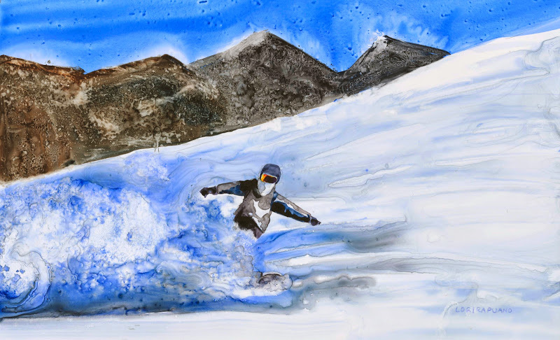 Riding, snowboarding by Lori Rapuano