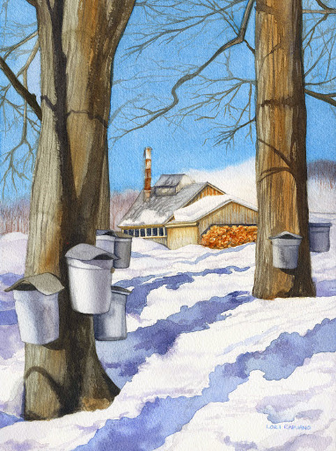 Sugar House and sap buckets, Vermont by Lori Rapuano