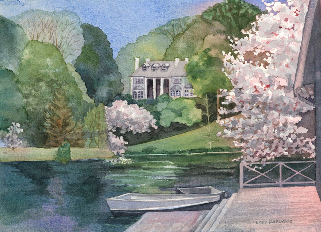 Paradise Pond at Smith College, President's House and Boathouse, Northampton, MA by Lori Rapuano