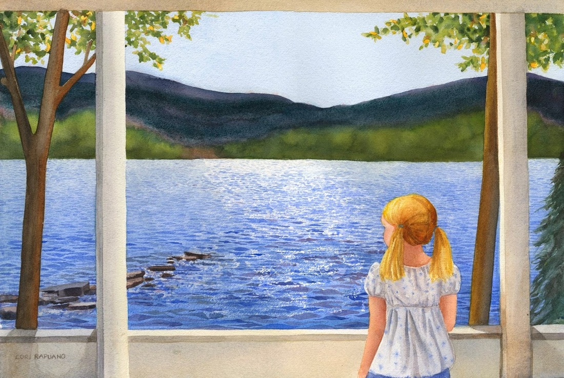 A Summer Morning, girl looking out at the lake, by Lori Rapuano